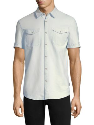 John Varvatos Western Cotton Button-down Shirt In Chalk