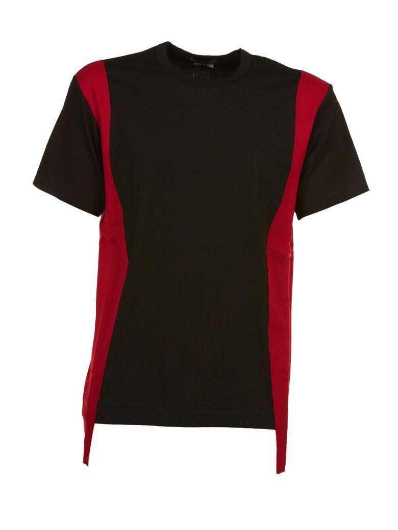 Comme Des GarÇons Homme Deux Comme Des GarÇons Paneled Trim T-shirt In Nero-rosso
