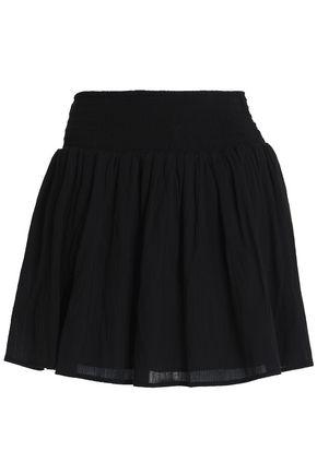 James Perse Woman Shirred Cotton-gauze Mini Skirt Black