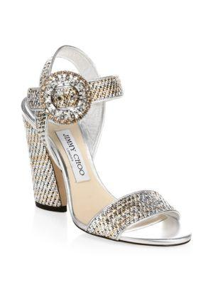 4692051af769 Jimmy Choo Mischa 85 Silver Woven Metallic Fabric Slingback Sandals With  Crystal Buckle In Silver Mix