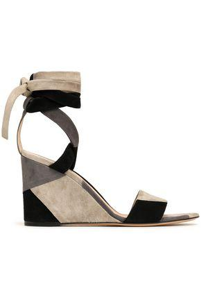 Gianvito Rossi Woman Lace-up Patchwork Suede Wedge Sandals Gray