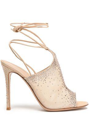 Gianvito Rossi Woman Lace-up Crystal-embellished Organza Sandals Blush