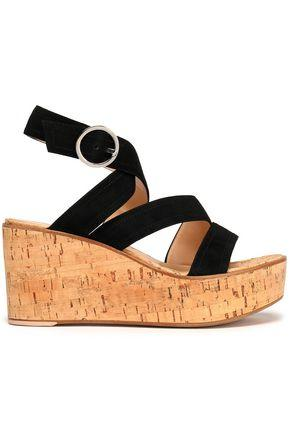 Gianvito Rossi Woman Suede Wedge Sandals Black