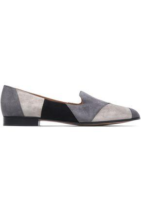 Gianvito Rossi Woman Patchwork Suede Slippers Gray