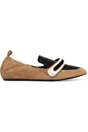 Lanvin Woman Suede And Leather Slippers Sand