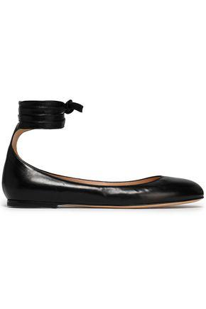 Gianvito Rossi Woman Carla Lace-up Leather Ballet Flats Black
