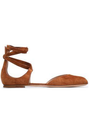 Gianvito Rossi Woman Lace-up Suede Ballet Flats Light Brown