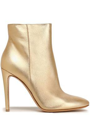 Gianvito Rossi Woman Metallic Leather Ankle Boots Gold