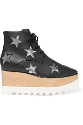 Stella Mccartney Woman AppliquÉd Faux Leather Platform Ankle Boots Black