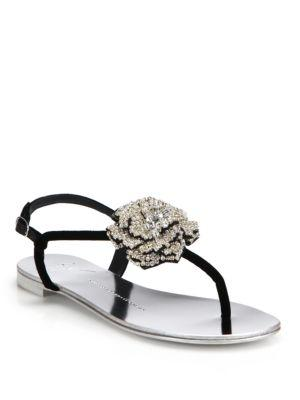 Giuseppe Zanotti Swarovski Crystal Rose T-strap Velvet Sandals In Black