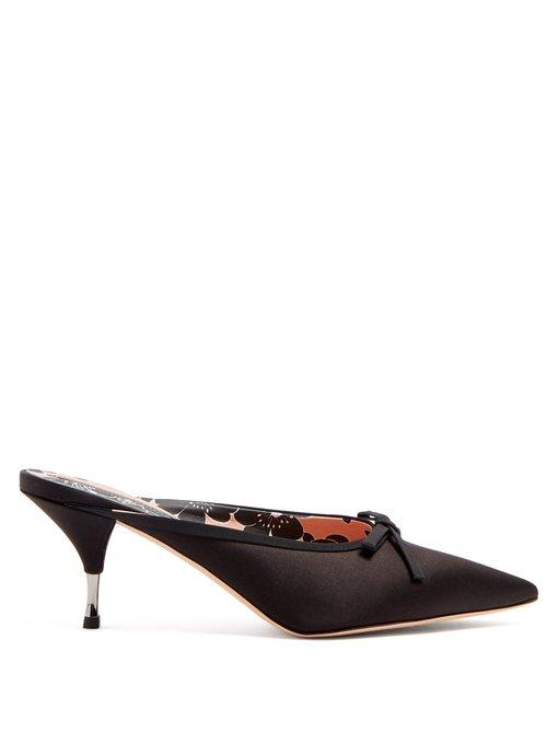 Rochas Bow-embellished Satin Mules In Black