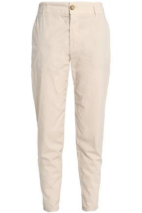 James Perse Woman Crinkled Stretch-cotton Tapered Pants Beige