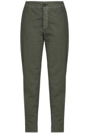 James Perse Woman Crinkled Stretch-cotton Tapered Pants Army Green