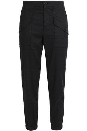 James Perse Woman Stretch Linen And Cotton-blend Tapered Pants Charcoal