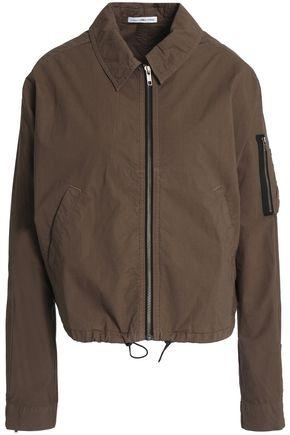 James Perse Woman Stretch Cotton-shell Jacket Army Green
