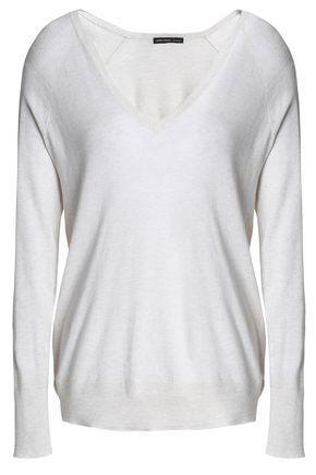 James Perse Woman MÉlange Cotton Sweater Off-white