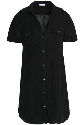 James Perse Woman Gauze Mini Shirt Dress Black