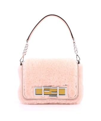 Fendi Pre-owned: 3baguette Convertible Crossbody Shearling Small In Pink