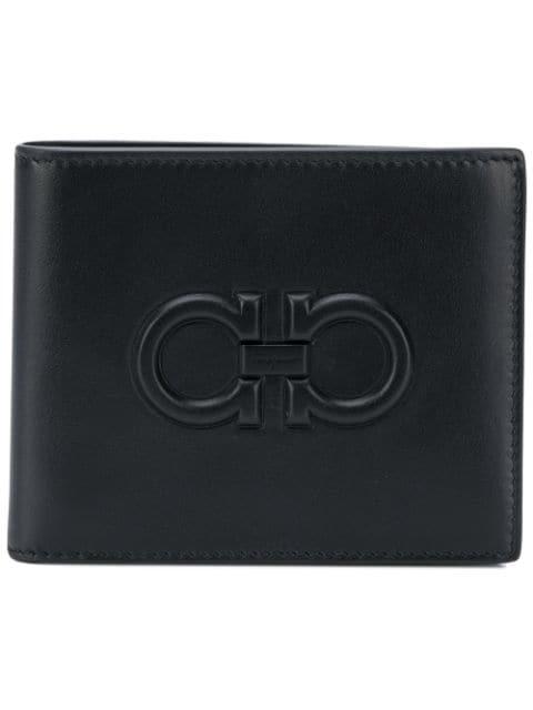 Salvatore Ferragamo Firenze Logo Leather Bi-fold Wallet In Black