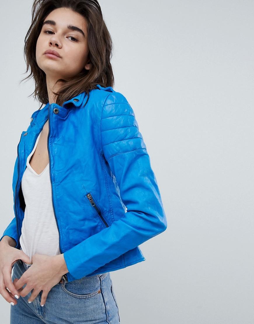 Muubaa Presley Cobalt Leather Biker Jacket - Blue
