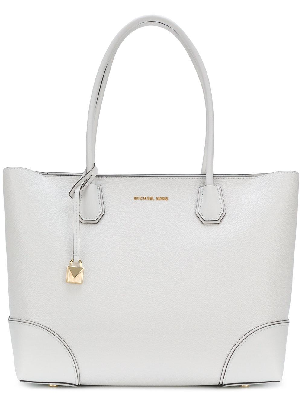 Michael Michael Kors Mercer Gallery Medium Leather Tote Bag In White