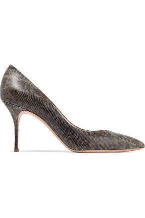 Casadei Woman Snake-effect Leather Pumps Dark Gray
