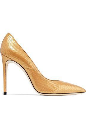 Casadei Woman Metallic Snake-effect Leather Pumps Gold