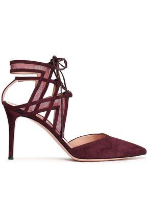 Gianvito Rossi Woman Lace-up Suede And Mesh Pumps Merlot