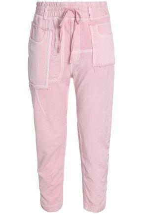 Haider Ackermann Cropped Frayed Twill-paneled Cotton-terry Track Pants In Baby Pink