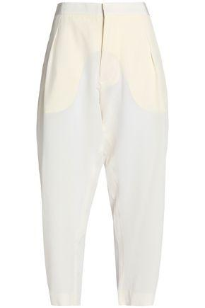 Marni Woman Cropped Silk Crepe De Chine Tapered Pants Off-white