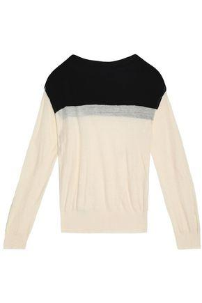 Haider Ackermann Woman Color-block Cotton And Cashmere-blend Sweater Black