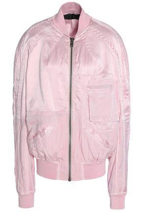 Haider Ackermann Woman Two-tone Twill-paneled Satin Bomber Jacket Pastel Pink