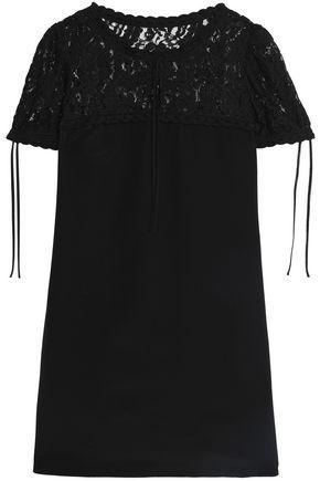 Moschino Woman Lace-paneled Silk Mini Dress Black