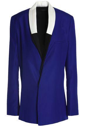 Haider Ackermann Woman Double-breasted Silk-crepe Blazer Blue