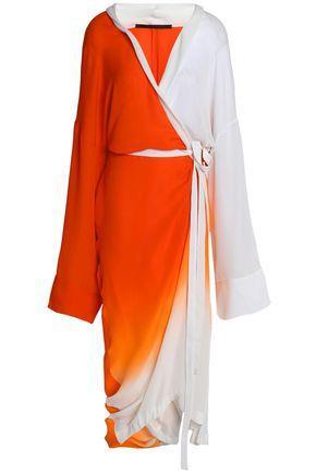 Haider Ackermann Woman Wrap-effect DÉgradÉ Silk Midi Dress Orange