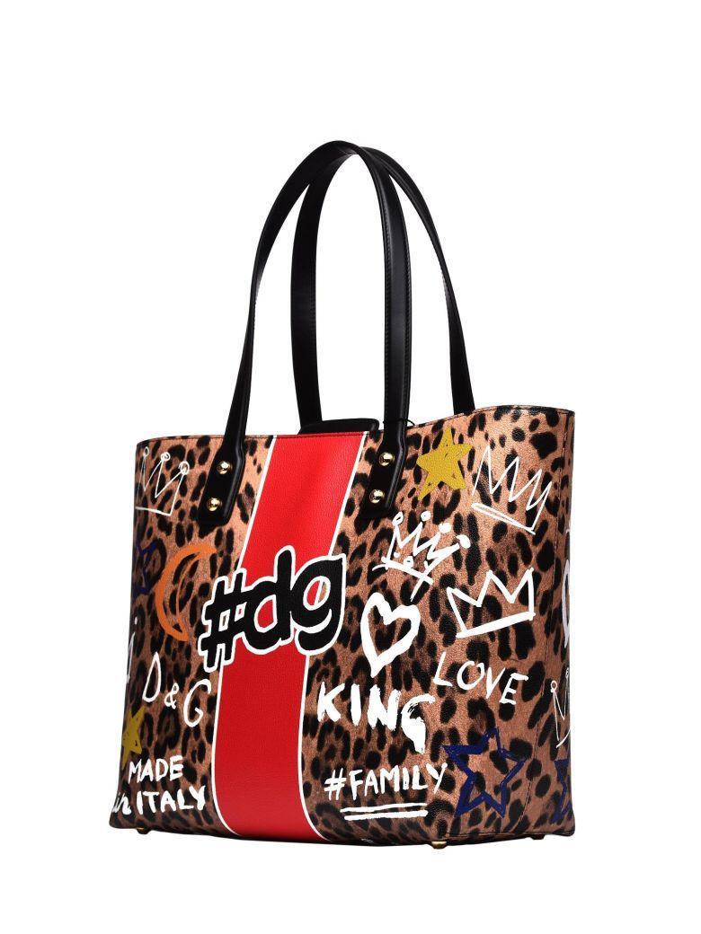 Dolce & Gabbana Beatrice Leopard Canvas Shopping Bag In Nero Maculato