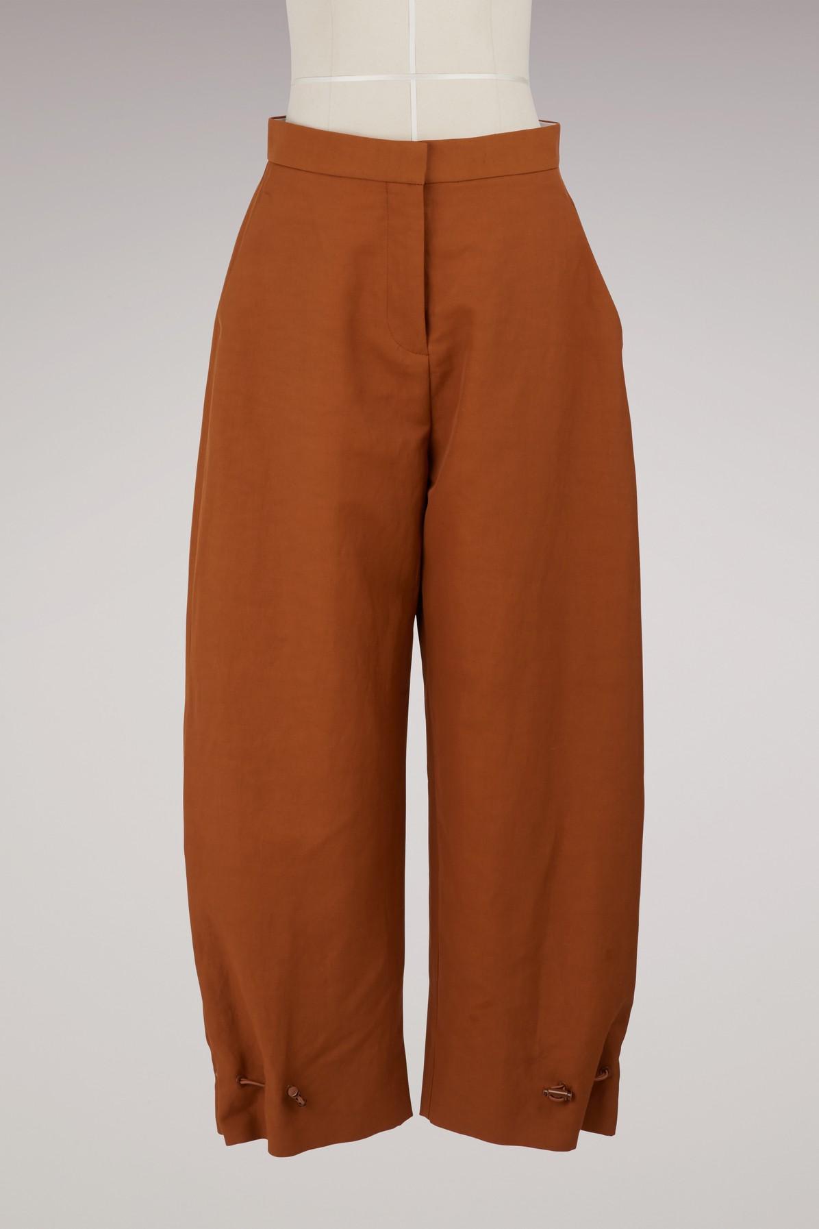 Stella Mccartney Linen Pants In 2200-pecan