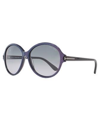 Tom Ford Round Sunglasses Tf343 Milena 83f Iridescent Chalkstripe Violet Ft0343