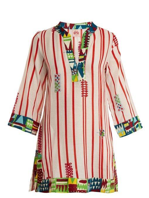 Le Sirenuse Positano Giada Afrika Striped Cotton Dress In White And Red