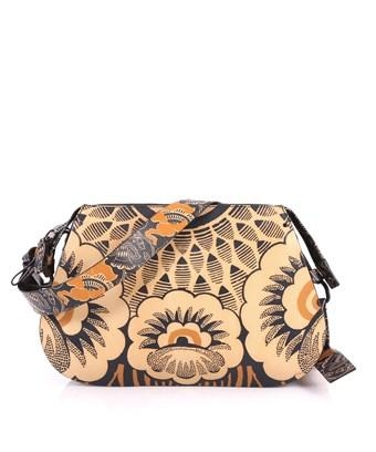 Valentino Garavani Pre-owned: Floral Shoulder Bag Printed Leather Medium In Brown