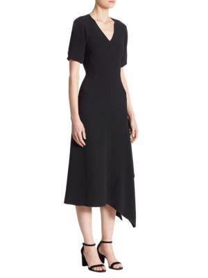 Victoria Beckham Draped V-neck Midi Dress In Black