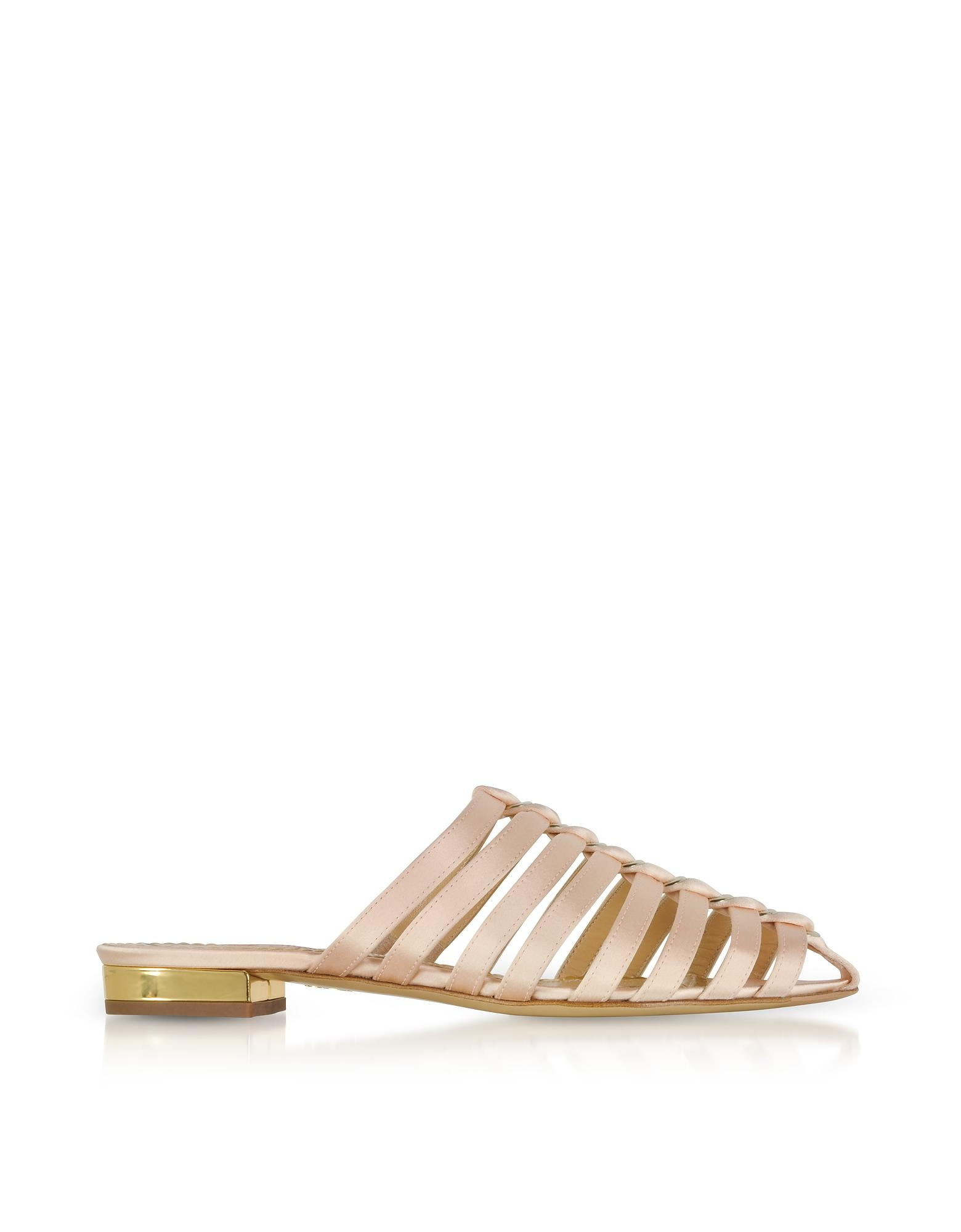 Charlotte Olympia Woman Anya Cutout Embellished Satin Slippers Blush In Pink
