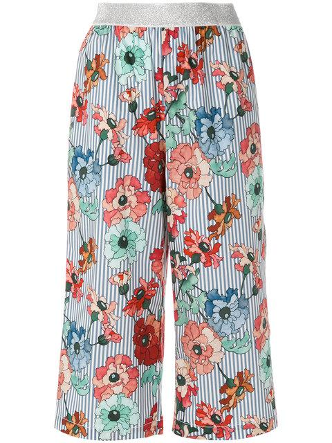 I'm Isola Marras Floral Print Cropped Trousers - Blue