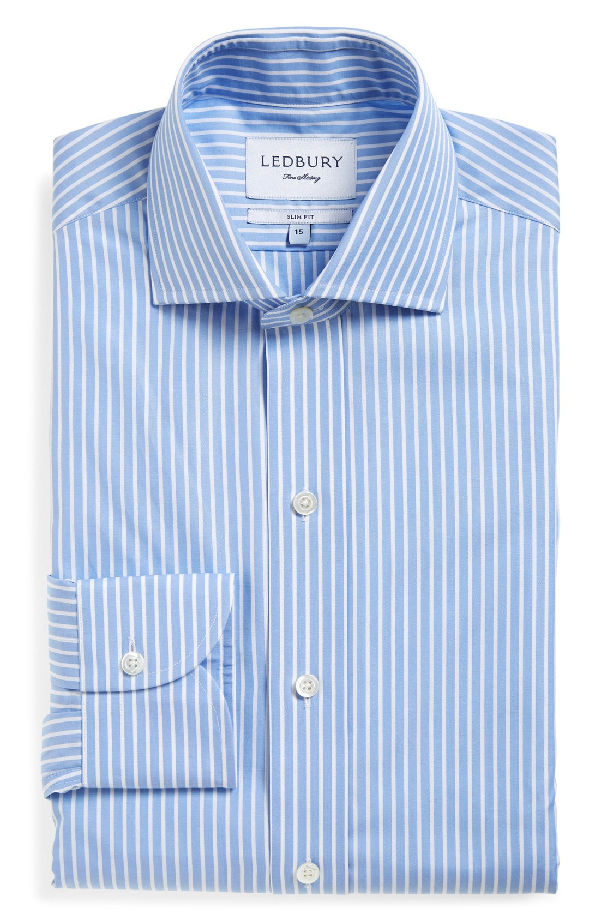 Ledbury 'blue Banker' Classic Fit Stripe Dress Shirt