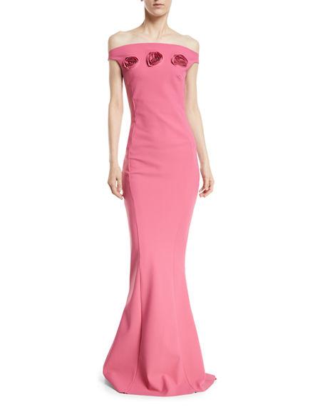 3a25d67511f7a6 Chiara Boni La Petite Robe Sissel Off-The-Shoulder 3D Rosette Gown ...