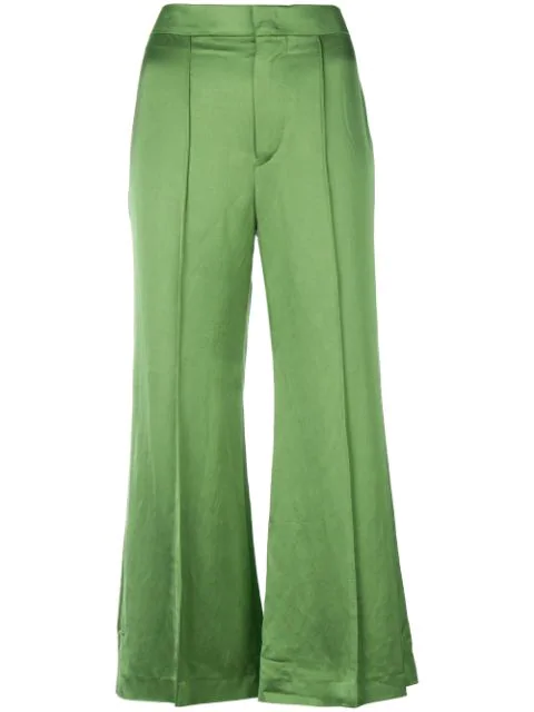 Isabel Marant Cropped Trousers In Green