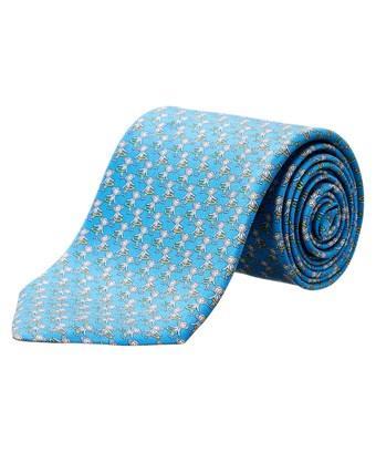 Salvatore Ferragamo Light Blue Monkey Silk Tie In Nocolor