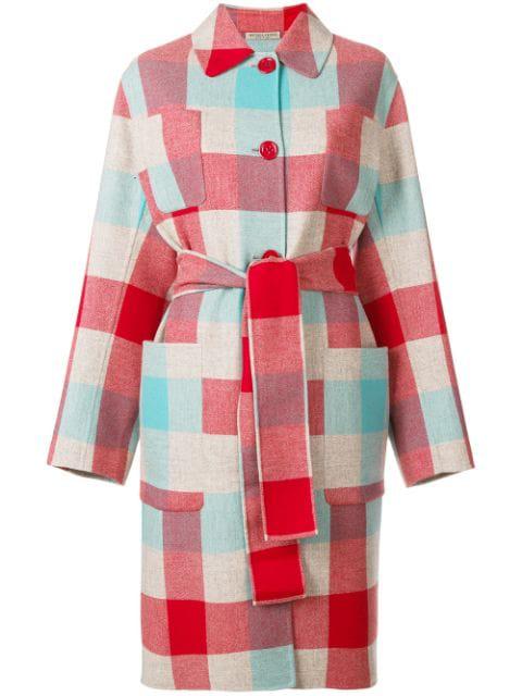 Bottega Veneta Checked Wool And Cashmere-blend Coat In 1516 Red/blue