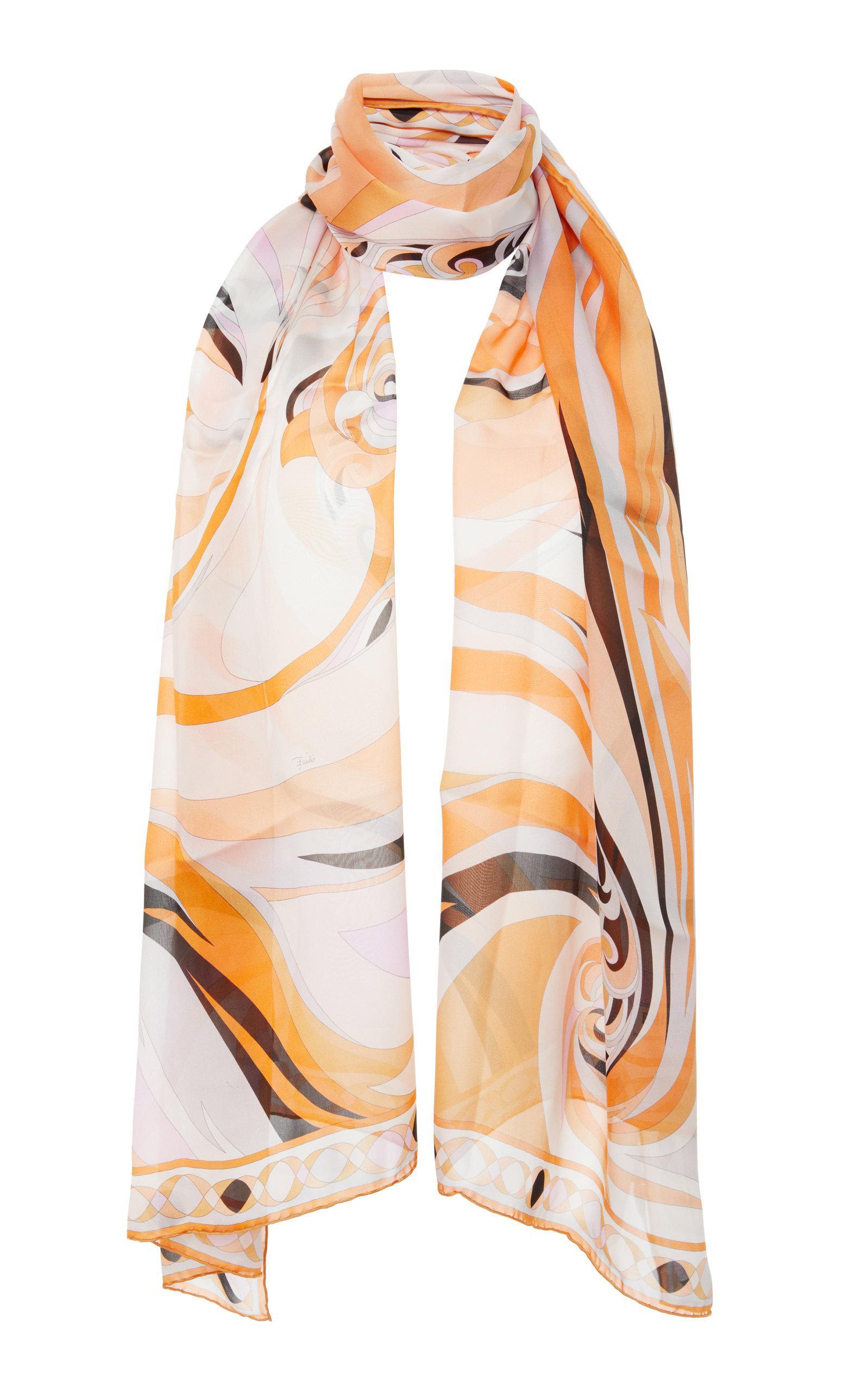 Emilio Pucci Printed Silk-chiffon Scarf In Yellow