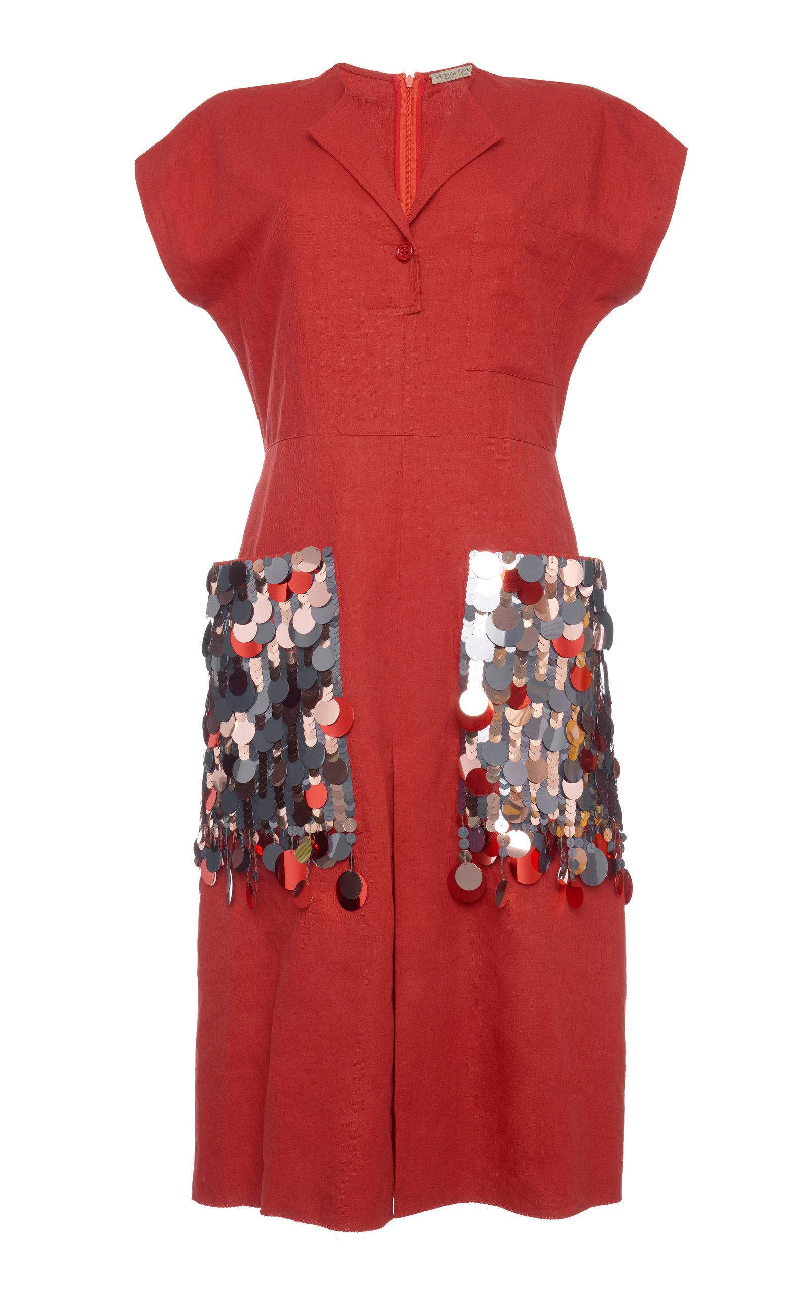 Bottega Veneta Paillette-embellished Cotton-blend Dress In Red